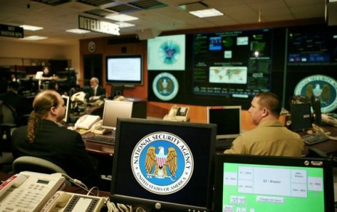 National Security Agency logo is shown on computer screen at NSA in Maryland